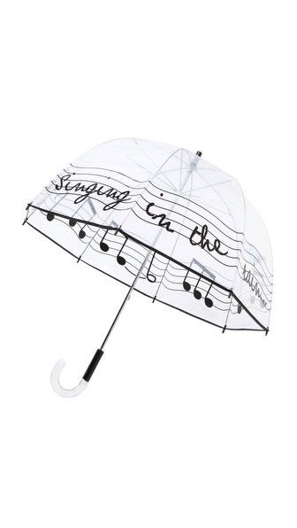 Felix Rey  Singing in the Rain Umbrella  R 579.96 | $65.00 A transparent bubble umbrella, detailed with 'singing in the rain' lettering and pastel birds. Curved handle.