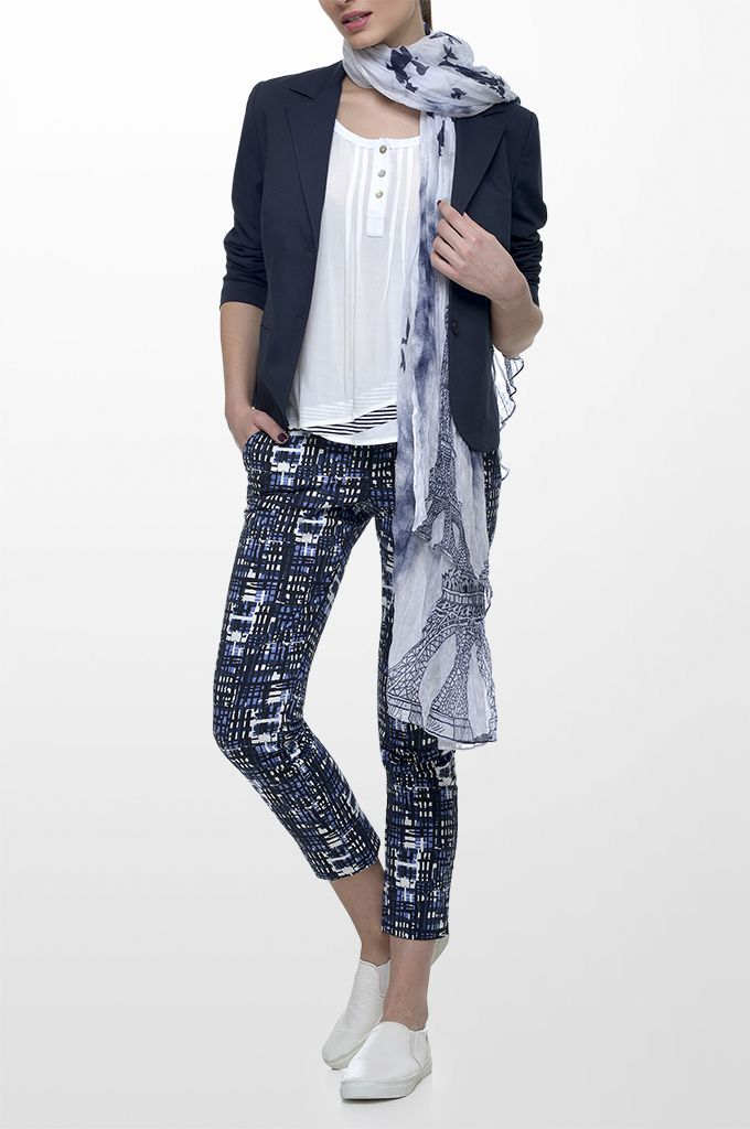 Sarah Lawrence - two-button blazer, short sleeve blouse with striped details, cropped printed pant, printed scarf.