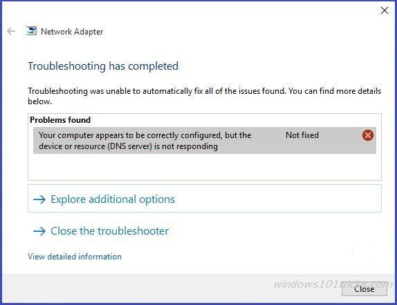 How To Fix Dns Server Not Responding On Windows 10 8 1 7 Dns