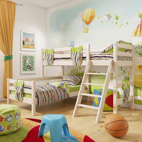 Угловая двухъярусная кровать SONYA 8 с наклонной лестницей