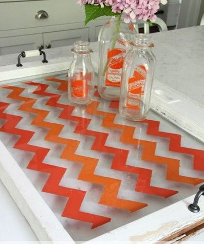 Colorcul chevrons on am upcycled window! Stencil a tray with the Chevron Craft Stencil!  http://www.cuttingedgestencils.com/chevron-stencil-templates-stencils.html