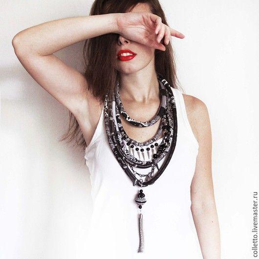 Fabric necklace / Колье, бусы ручной работы. Текстильное украшение