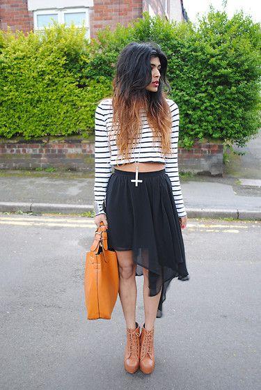 Faux Tan Litas, H Stripe Crop Top, Glamorousuk Black Waterfall Skirt, Kora Inverted Cross Necklace, Faux Zara Leather Shopper