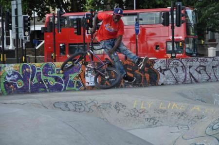 BMX freestyler Akin Hercules-Walker jumps Brixton's iconic skate park. Photo Credit: Kasia EvaBMX freestyler Akin Hercules-Walker jumps Brixton's iconic skate park. Photo Credit: Kasia Eva