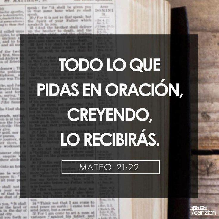 << Todo lo que pidas en oración, creyendo, lo recibirás >>.    Mateo 21:22