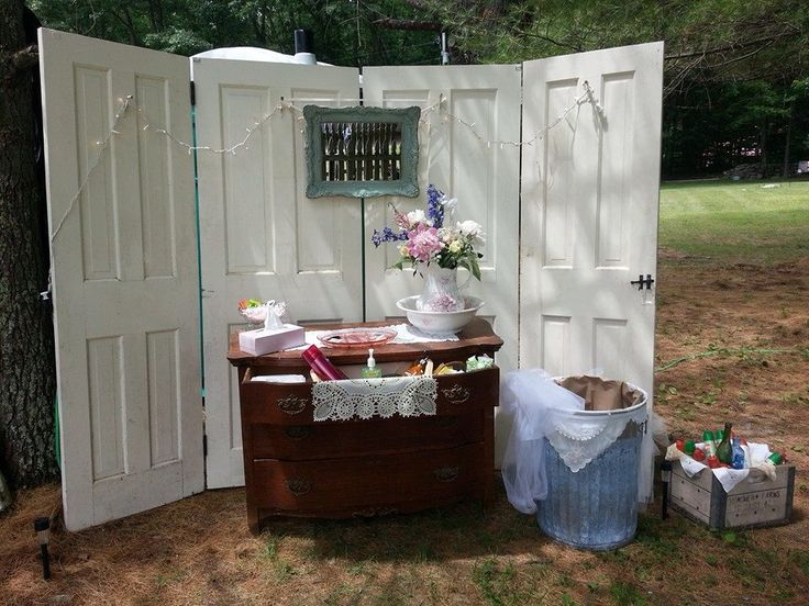 16 best porta potty images on pinterest marriage for Wedding reception bathroom ideas