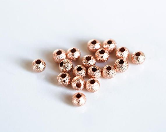 2987 Rose gold beads 3mm Small beads Gold plated beads Frosted