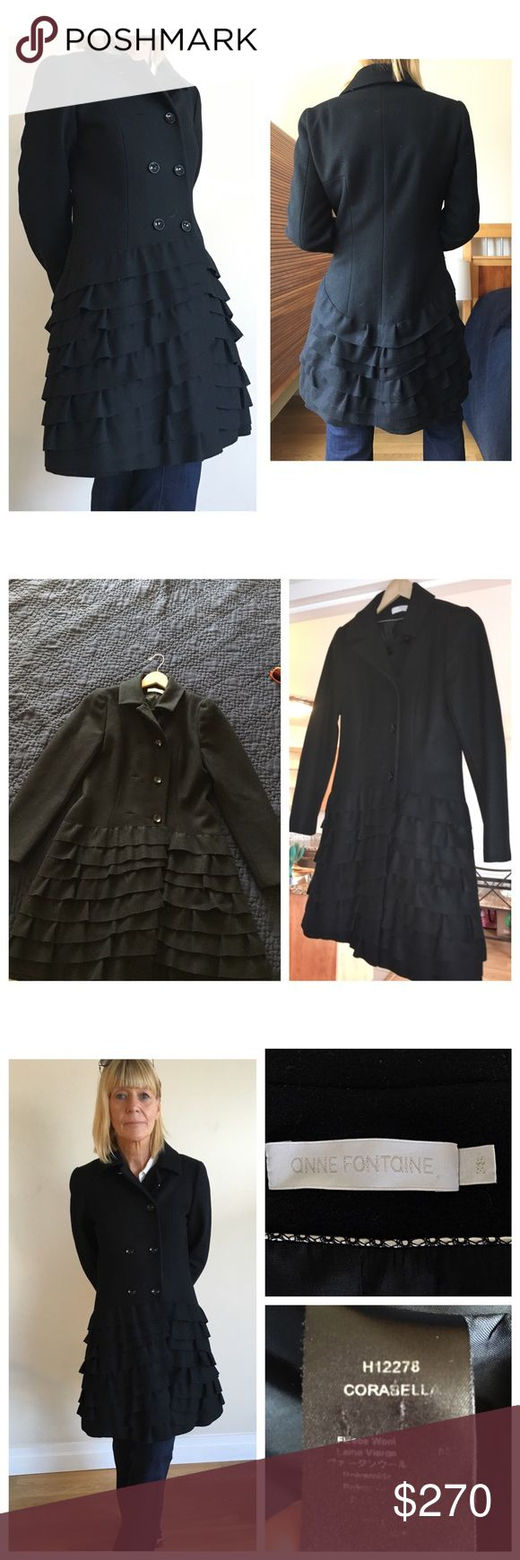 Anne Fontaine Black Wool Coat Remarkable Anne Fontaine 100% Wool coat - MINT Condition- It's a SMALL Size 38 European size; meaning a size 8. It runs small though. It fits me, and I'm a size 2-4. *Offers Welcomed* Anne Fontaine Jackets & Coats