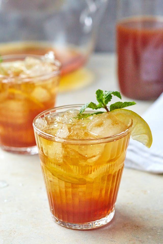 Sweet Tea and Bourbon Pitcher Cocktail - Black Tea, Peach Tea, Bourbon, Simple Syrup, Lemon Wedges, Mint.