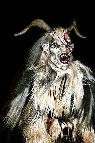 A Krampuslauf is a run of celebrants dressed as the beast, often fueled by alcohol. It is customary to offer a Krampus schnapps, a strong liqueur.[1] These runs may include perchten, similarly wild pagan spirits of Germanic folklore and sometimes female in representation, although the perchten are properly associated with the period between Winter Solstice and January 6. In larger cities, there may be numerous runs throughout the Advent season