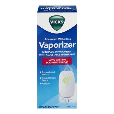 Vicks Advanced Waterless Vaporizer Mini Plug-In Vaporizer With Adjustable Nightlight, 1.0 CT, White
