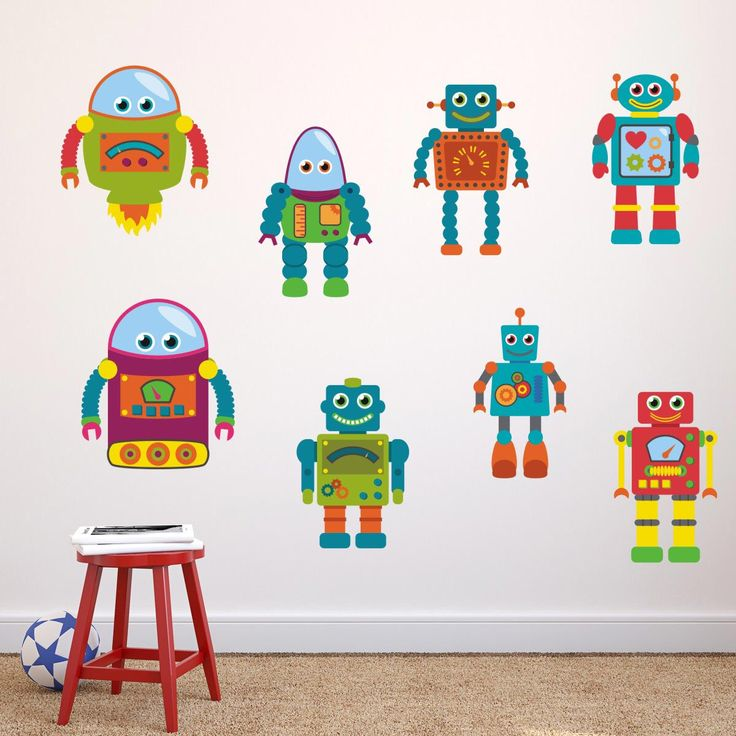Boys Robot Wall Stickers, Robot Wall Decals, Boys Wall Art, Bedroom Wall  Transfers Part 71
