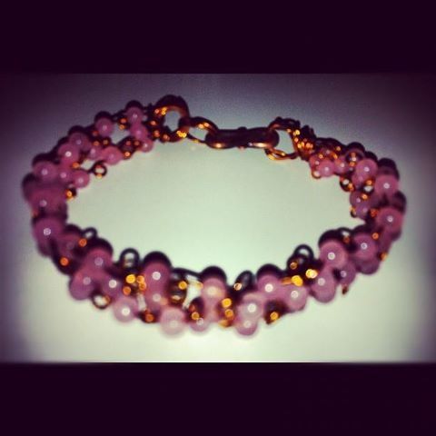 Self made handwoven rose quartz bracelet