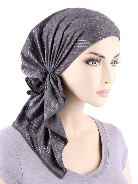 BELLA-676#The Bella Scarf Gray Silver Stripe