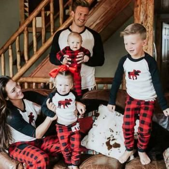 2-piece Contrast Sleeve Top and Plaid Pants Family Matching Set