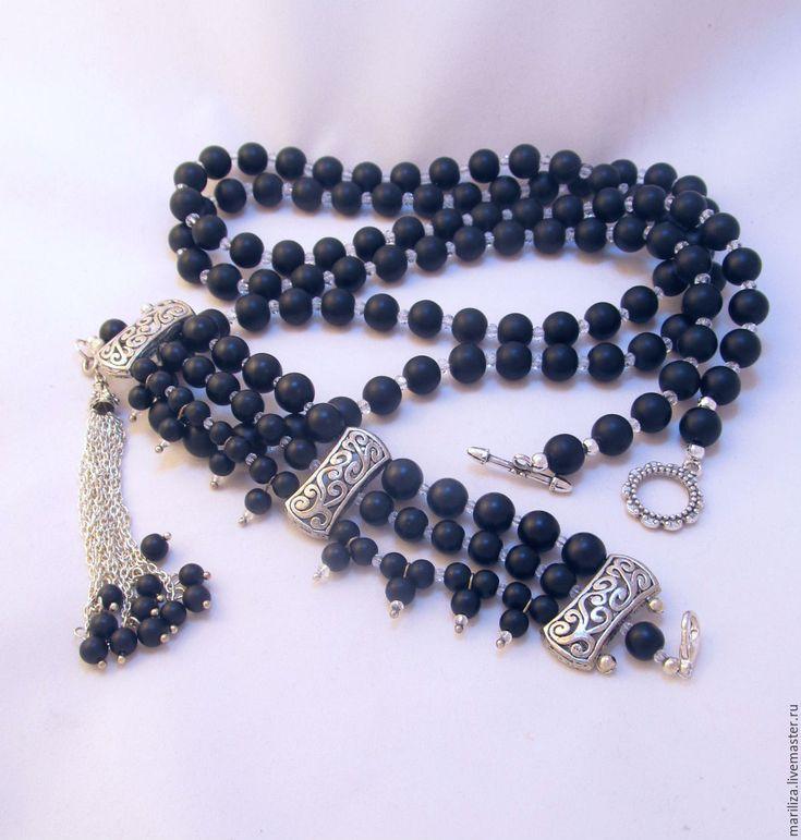 Anna Akhmatova (shungit) a bracelet and a necklace