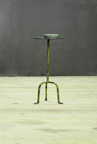 USA, 1930s, Vintage Van Brunt Gentleman's Drink Stand. Heavy Forged Iron Construction. Rich, Time Worn Patina to the Gold Leaf Finish.