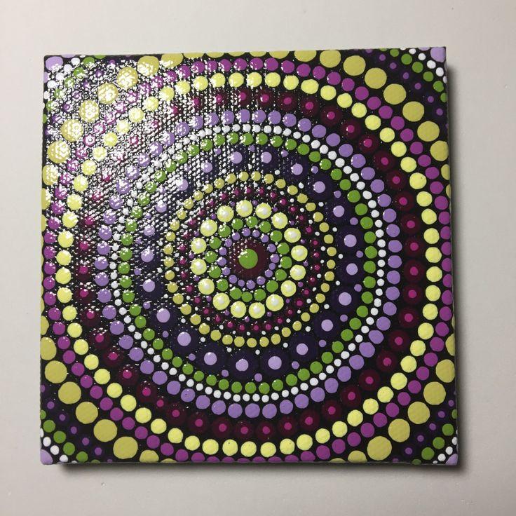 Hand Painted Mandala on Canvas, Mandala Meditation, Dot Art, Healing, Calming, #395 by MafaStones on Etsy