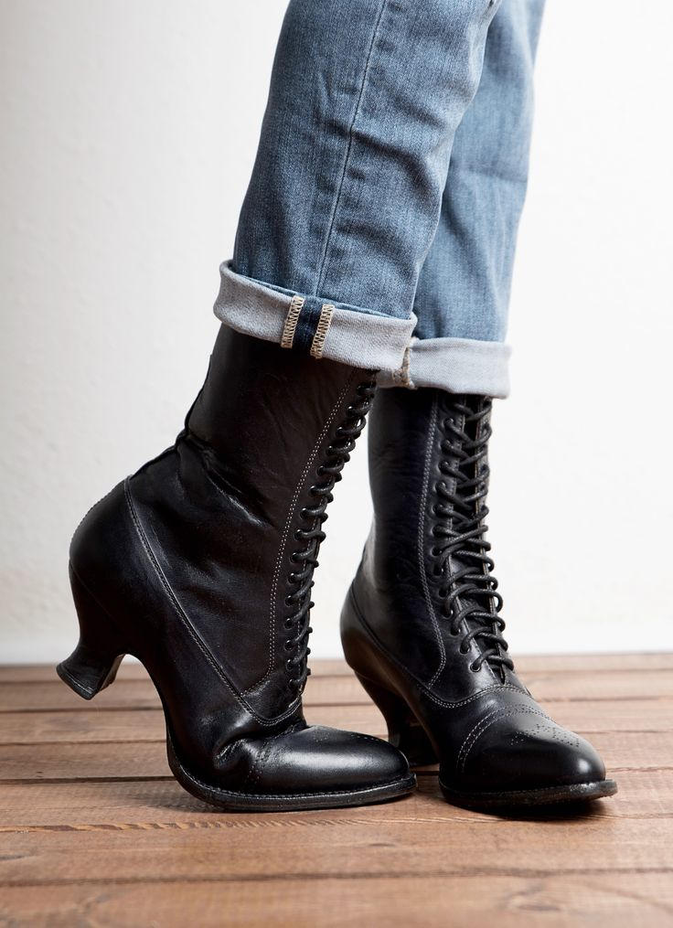 19th Century meet modern day. This Lace up Victorian boot pairs with jeans or dress up with a dress or skirt. MIRABELLE by OAK TREE FARMS.
