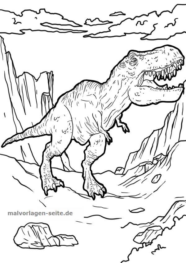malvorlage tyrannosaurus rex  dinosaurier  kostenlose