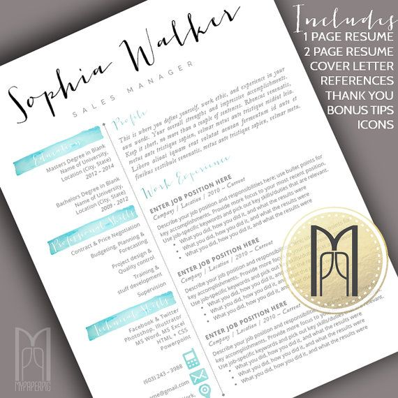 18 best Etsy - CV images on Pinterest Resume cv, Resume ideas - modern resume template word