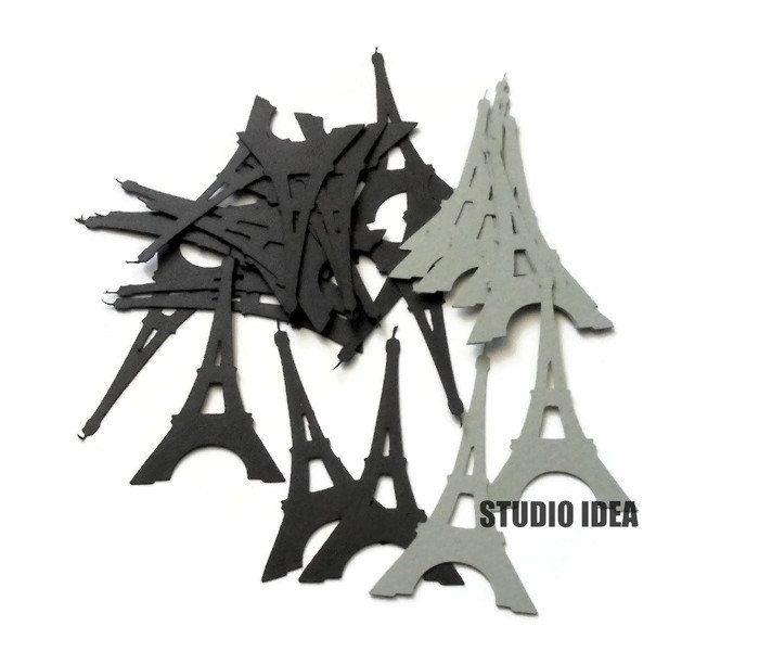"Black & Grey  2.5"" Eiffel Tower Cut outs, Confetti-Vintage Cut outs- or Choose Your Colors-Set of 40pcs, 80pcs, 120pcs by StudioIdea on Etsy"