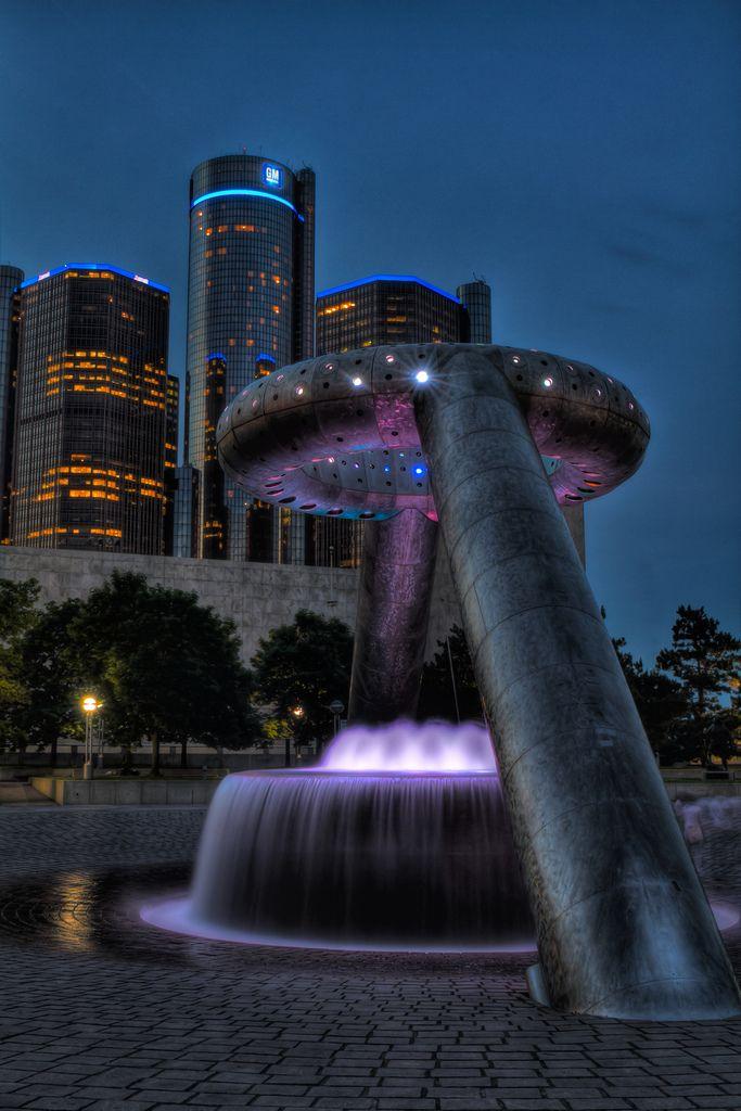 Neon Dodge fountain #Detroit #Michigan