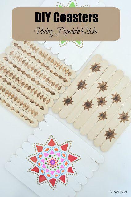 Vikalpah: DIY Coasters using popsicle sticks - 2 ways (Wood burning & Painting)