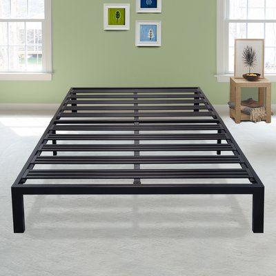 latitude run branson black metal platform bed frame size twin xl