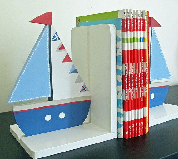 Sail boat  Bookends by redlovesgreen on Etsy, $55.00