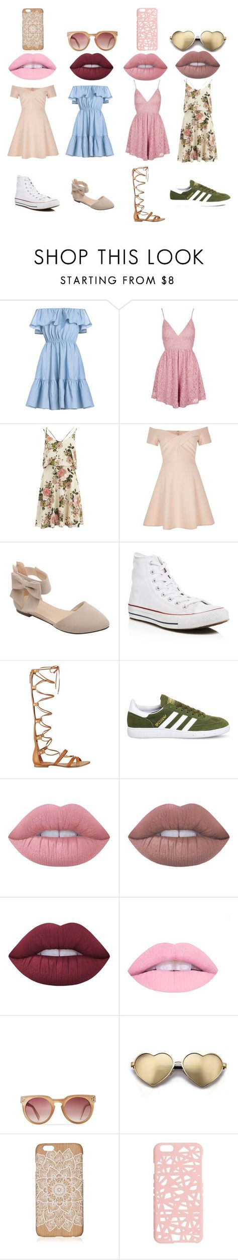 OTB 3 by nicolean1029 on Polyvore featuring VILA, River Island, Topshop, GUESS, adidas, Converse, Wildfox, Miss Selfridge and Lime Crime