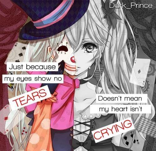 """""""Só porque meus olhos não demonstram lágrimas, não quer dizer que meu coração não está chorando"""" I live with this all day, my smile isn't fake, but doesn't mean that I am not confuse or sad :/"""