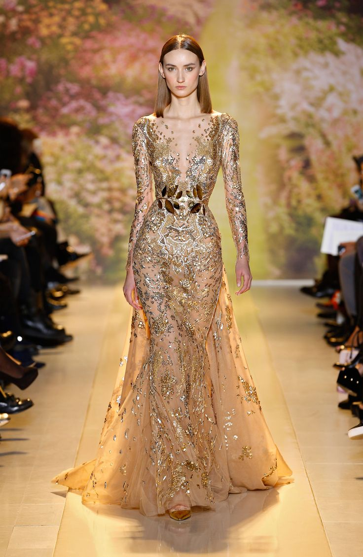 zuhair murad haute couture ss14 long sleeved gold python dress with train