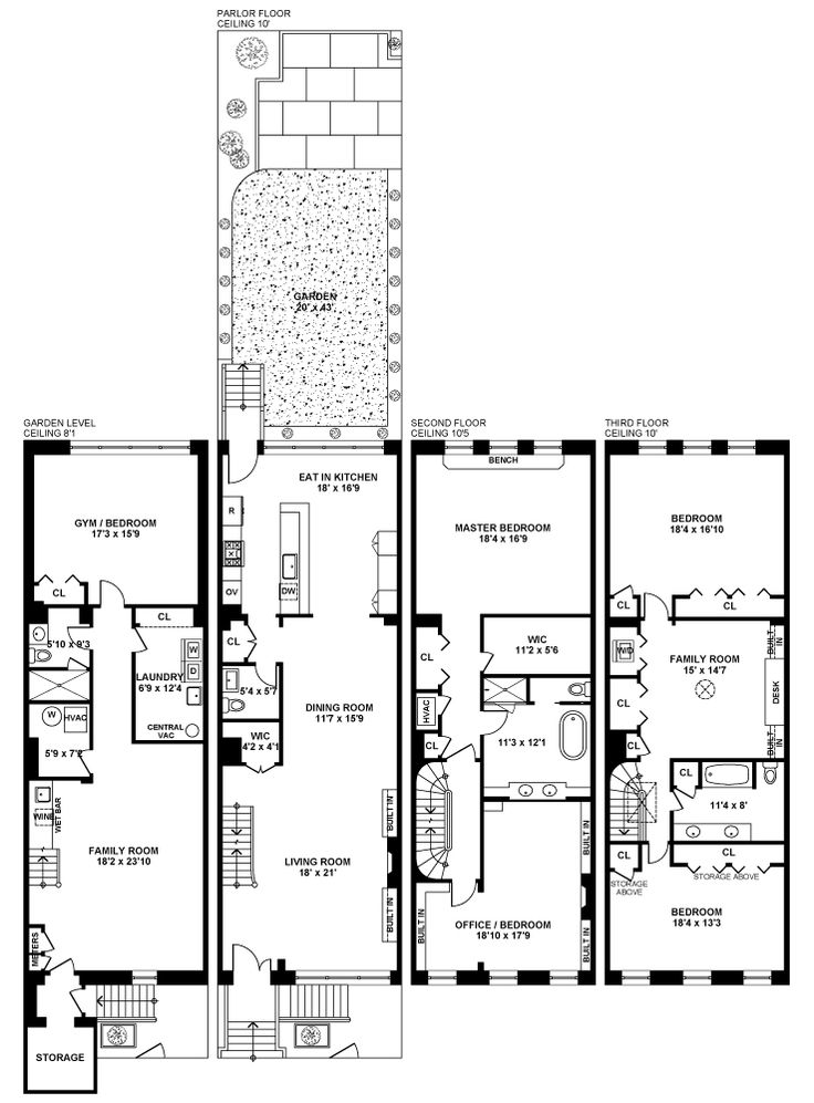 271 best images about townhouses on pinterest architects for Brownstone building plans