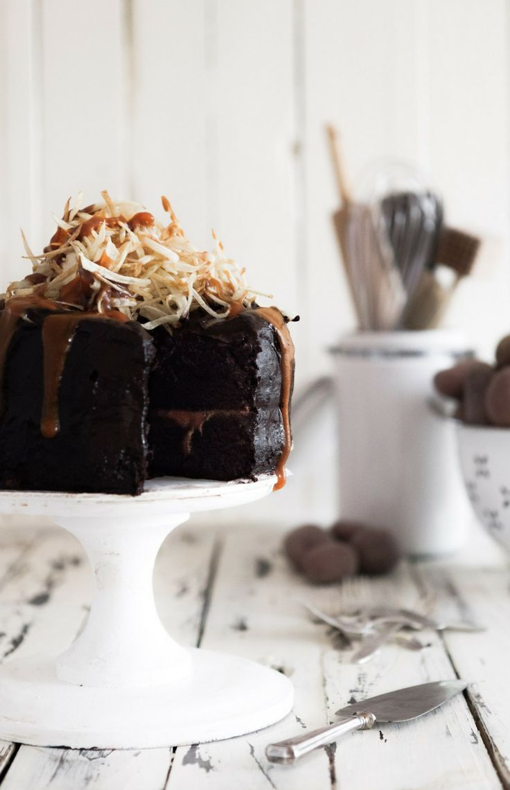 Salt & Vinegar Shoestring Chips Topped Chocolate Cake with Caramel Drizzle at Chasing Delicious
