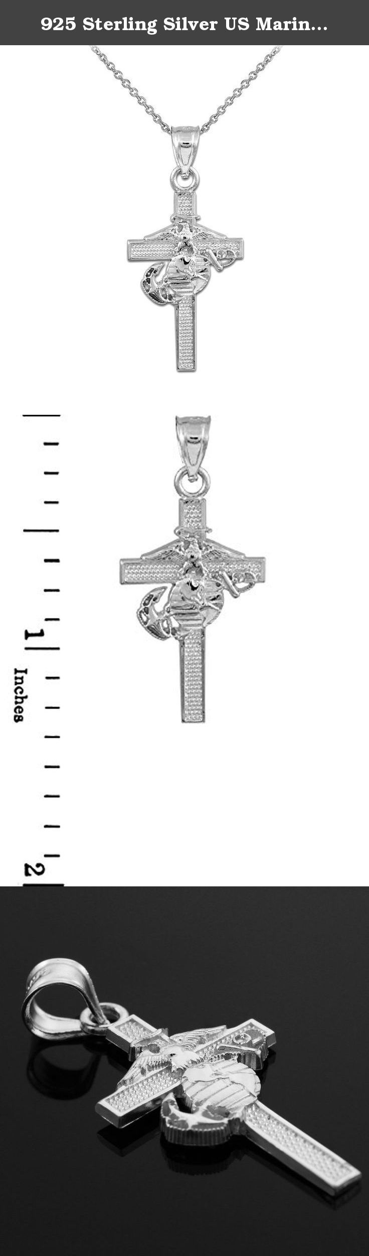 "925 Sterling Silver US Marine Corps Medium Military Cross Pendant Necklace, 16"". Exhibit that admirable patriot in you with this splendid 925 sterling silver cross with the US Marine Corps emblem pendant necklace. This piece is intricately and designed for America's brave. Its delicate design showcases the American Eagle, Globe and Anchor--all 3 symbols, together, represent the Marine Corps' commitment to defend our country by land, by air, or by sea. ."