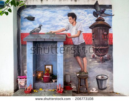 """George Town, Penang, Malaysia - April 24, 2014: """"Past, Present & Future"""" street art mural by local artist in Georgetown, Penang, Malaysia. - stock photo"""