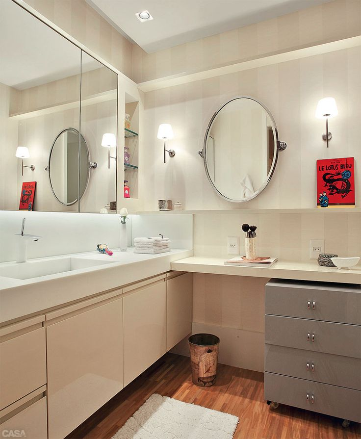 Projeto luminotécnico traz aconchego para apartamento no Rio  Bathroom vanit -> Armario De Banheiro Amadeirado