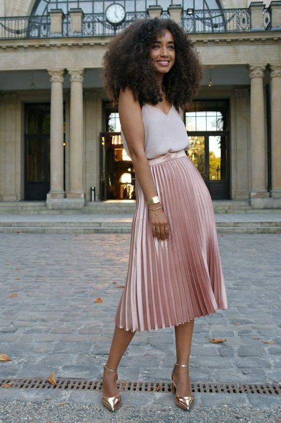 4ffb69908e CLICK & BUY :) Baby pink metallic pleated light high waist summer skirt  metalic midi length pink skirt outfit pink pleated skirt outfit