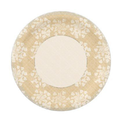 Linen Lace Floral Wedding Paper Plate - romantic wedding love couple marriage wedding preparations