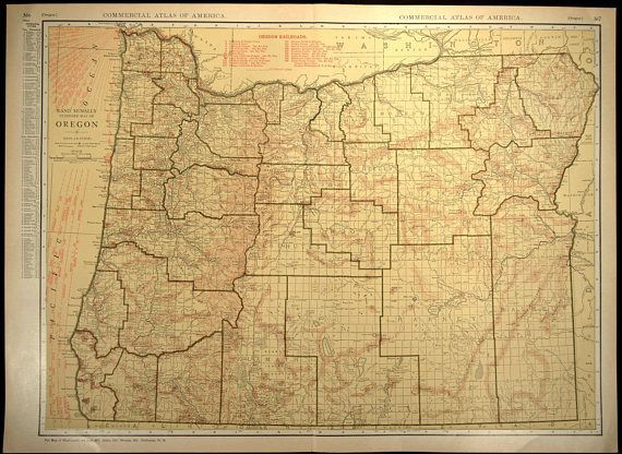 Oregon Map Oregon EXTRA LARGE Railroad Map Wall Art   Map Wall Decor ...