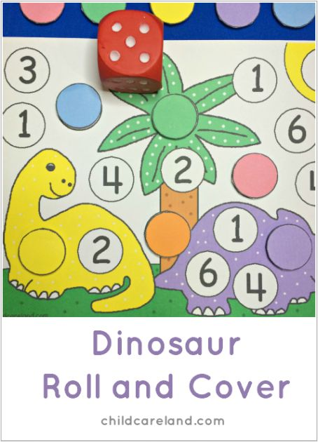 Dinosaur roll and cover for preschool and kindergarten math centers.