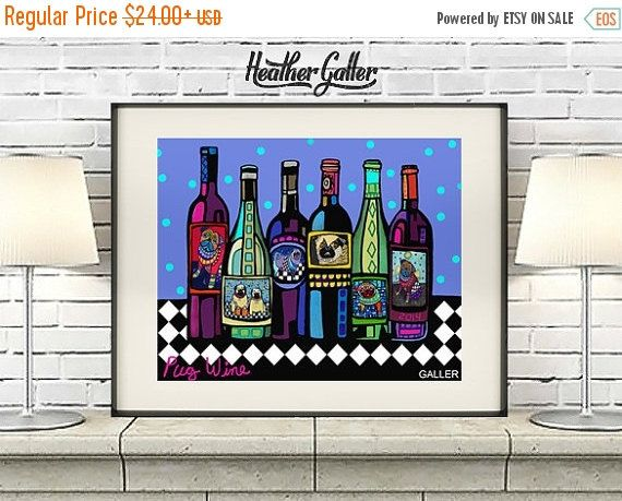 50% Off Today- PUG ART Wine Bottles Print Poster of Painting by Heather Galler Modern Pop Art Winery Abstract (HG795)
