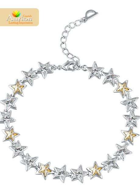 Wishing star bracelet When was the last time you wished on a star? Wear this delicate bracelet to feel like nothing less than a star. This delicately molded piece comes with tiny star elements studded with Swarovski crystals, and delicately secured by a metal clasp. Buy here - https://www.aurioncrystals.in/shop/bracelets/wishing-star-bracelet.html