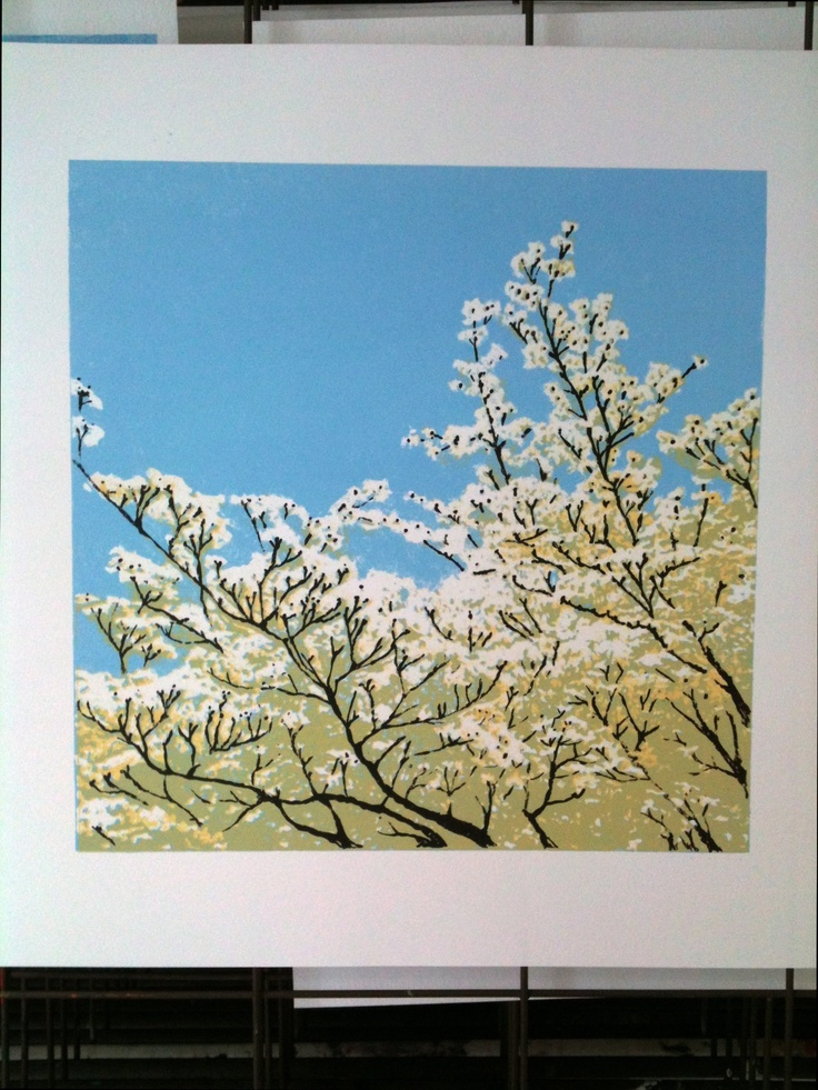 Spring Blossom - still on the drying rack. This print took forever to finish - just kept going wrong!