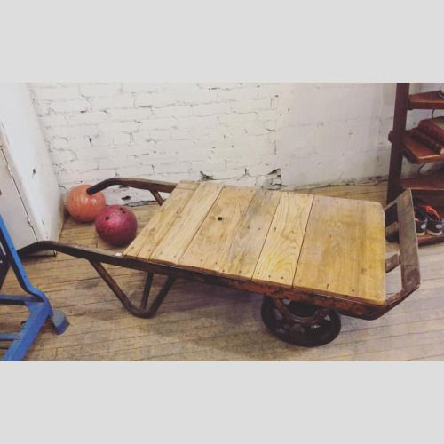 Dolly cart reclaimed coffee table