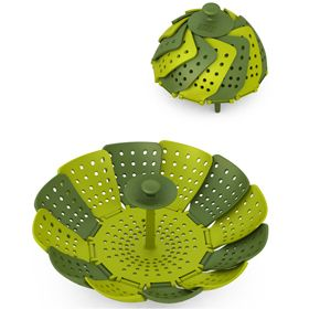 Joseph Joseph Lotus Folding Steamer Basket Dark Green and Green