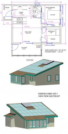 "500 sq ft -- Model is ""Korean Kabin"", originally designed for developer in East Asian market. Huge roof area for solar electric and hot water. One drawback to me is that the mechanical room for home is above back area of house in a loft. Without easy and direct access, any kind of equipment replacement is going to be a nightmare."