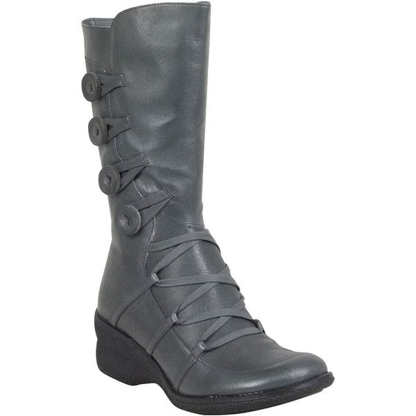 Miz Mooz Olsen Women's Mid-Calf Boot F Mid-Calf Boot ($98) ❤ liked on Polyvore featuring shoes, boots, grey, short boots, grey mid calf boots, short grey boots, gray boots and wedge heel boots