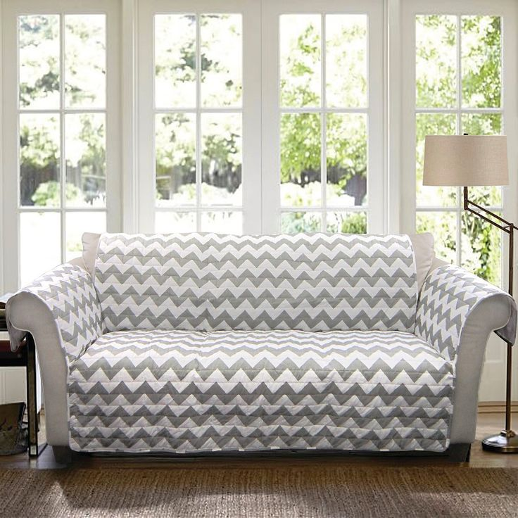 Chevron Furniture Protector Gray/ White Sofa, Gray/White